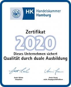 Ausbildungszertifikat 2020 der Handelskammer Hamburg