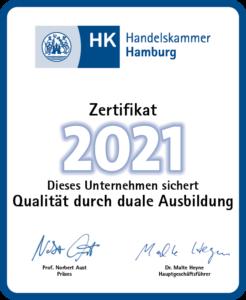 Ausbildungszertifikat der Handelskammer Hamburg
