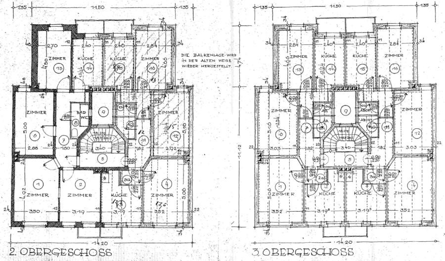 Kapitalanlage in Form eines Mehrfamilienhause, zentral in Harburg gelegen - Grundrisse 2OG und 3OG