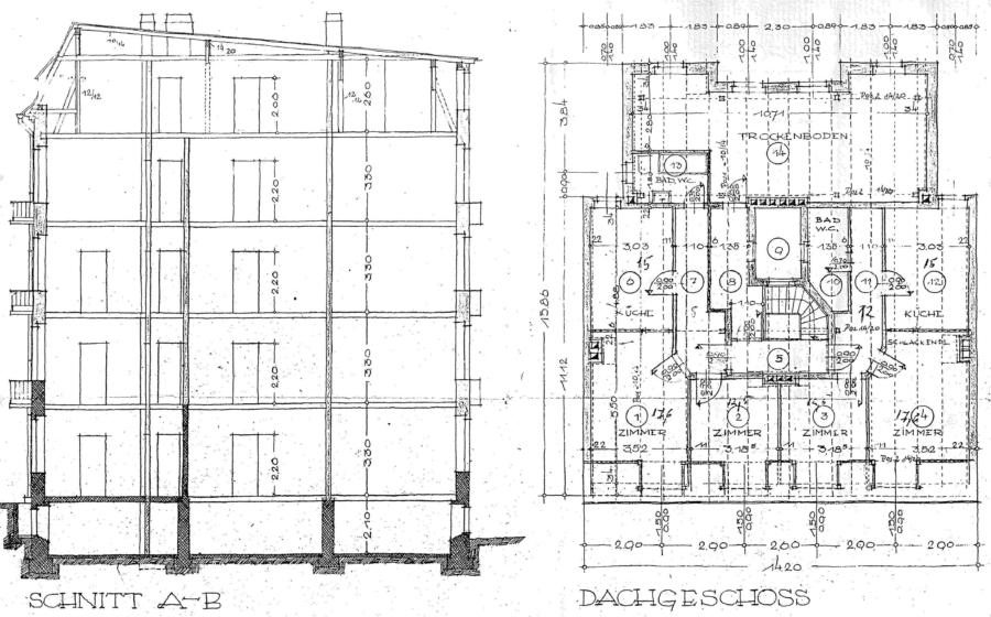 Courtagefrei - Mehrfamilienhaus in zentraler Lage von Eimsbüttel zu kaufen - Grundriss DG und Schnitt
